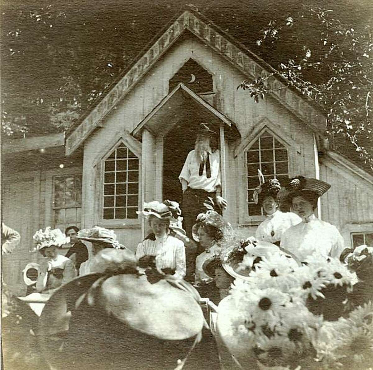 Joaquin Miller hosted countless parties at the Abbey, the cottage he built in the Oakland hills. Among his guests were Mark Twain, Robert Louis Stevenson and Walt Whitman. Photo taken around 1900.