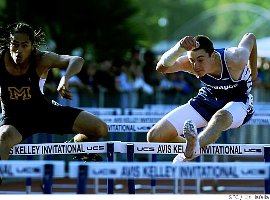 Mykel Block (left), from Monterey, places first,  and Eric Surprenant (right), places second, in the boys 300 meter hurdles at the Central Coast Section track and field meet in Gilroy, Calif., on Friday, May 23, 2008.Photo by Liz Hafalia / The Chronicle Photo: Liz Hafalia, SFC