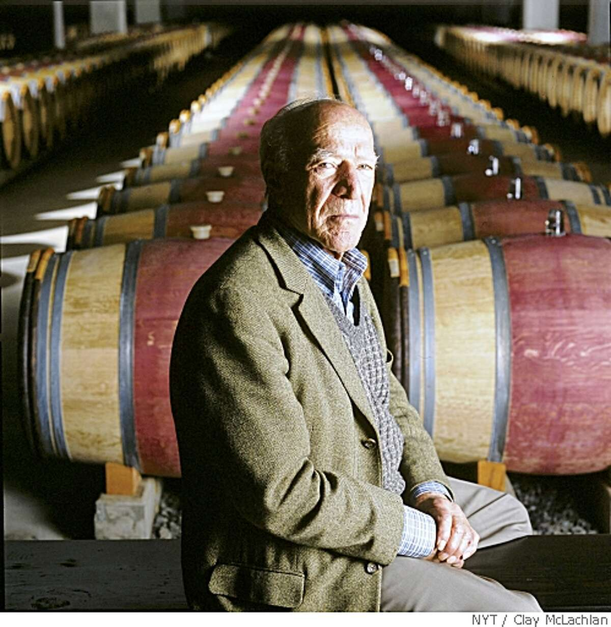 (NYT37) NAPA VALLEY, Calif. -- May 20, 2008 -- WINE-MONDAVI -- American wine icon Robert Mondavi, in 2003 in his Napa Valley winery. Mondavi, the California vintner who set in motion the rebirth of the Napa Valley wine industry and, to a generation of Americans, championed the idea that fine wine was an integral part of the good life, died Friday, May 16, 2008 at his home in Yountville, Calif. He was 94. (Clay McLachlan/The Press Democrat, Santa Rosa)