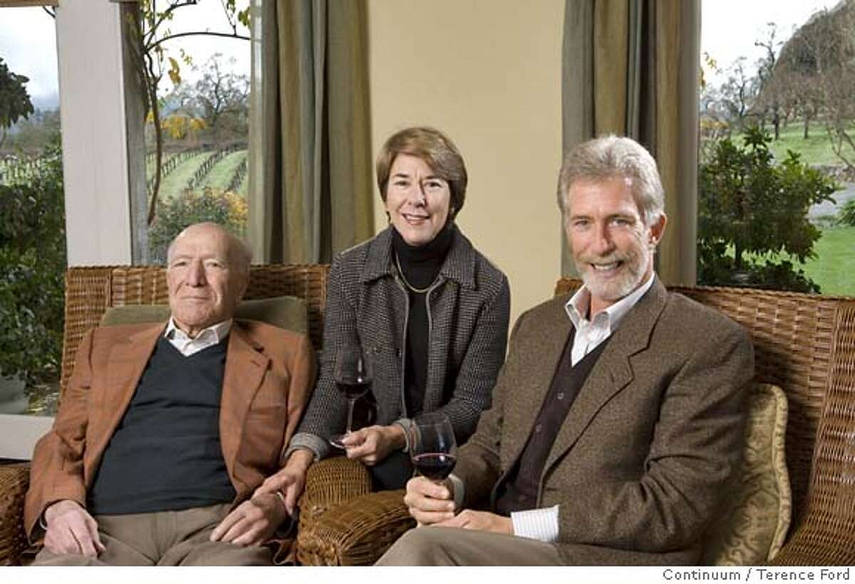 Left to right: Robert Mondavi, Marcia Mondavi and Tim Mondavi have formed a new company to make a wine called Continuum. Credit: Courtesy of Terence Ford/Continuum Ran on: 01-26-2007