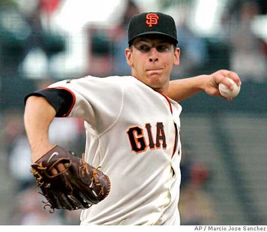 San Francisco Giants pitcher Pat Misch throws to the Houston Astros in the first inning of a baseball game in San Francisco, Wednesday, May 14, 2008.(AP Photo/Marcio Jose Sanchez) Photo: Marcio Jose Sanchez