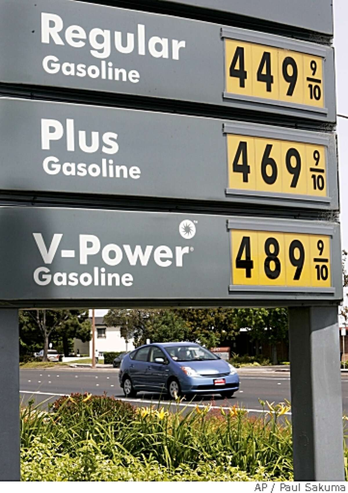 High gas prices are posted at a Shell gas station in Redwood City earlier this month. Associated Press photo by Paul Sakuma