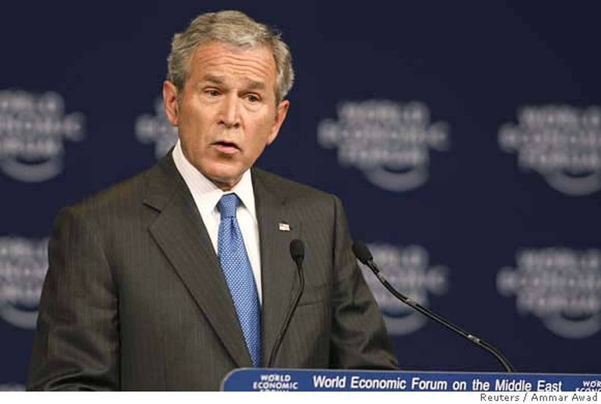 ###Live Caption:U.S. President George W. Bush speaks at the World Economic Forum (WEF) on the Middle East in Sharm El-Sheikh, May 18, 2008. REUTERS/Ammar Awad (EGYPT)###Caption History:U.S. President George W. Bush speaks at the World Economic Forum (WEF) on the Middle East in Sharm El-Sheikh, May 18, 2008. REUTERS/Ammar Awad (EGYPT)###Notes:U.S. President George W. Bush speaks at the World Economic Forum (WEF) on the Middle East in Sharm El-Sheikh###Special Instructions:0