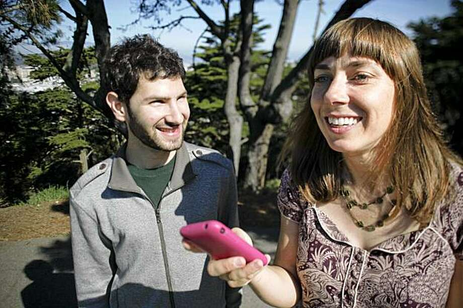Catherine Herdlick and Gabe Smedresman, photographed at Buena Vista Park in San Francisco, Calif. on Thursday, Sept. 17, 2001, have developed a website, Scenicroute.com, that can be accessed on an iphone to give you a less expected tour of San Francisco. Photo: Russell Yip, The Chronicle