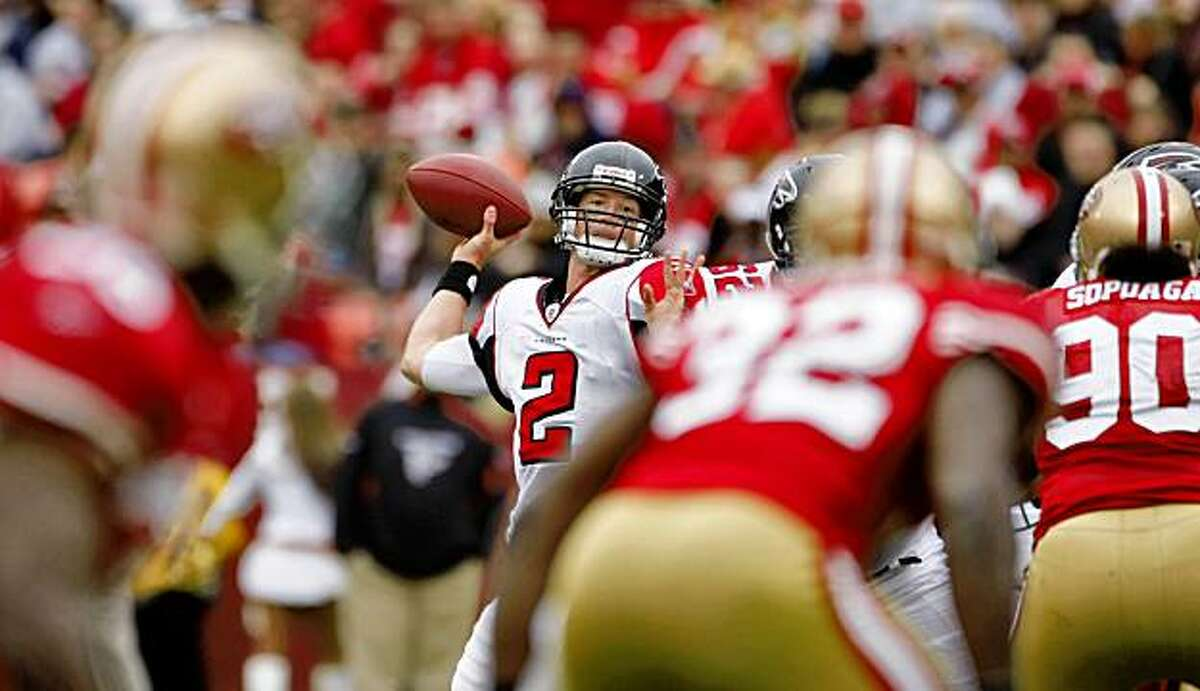 Atlanta Falcons quarterback Matt Ryan makes a touchdown pass against the 49ers on Sunday at Candlestick in San Francisco.