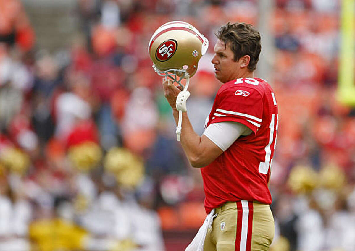 The San Francisco 49ers' Shawn Hill reacts in the last two minutes of the game with the Falcons leading 45-10 on Sunday at Candlestick.