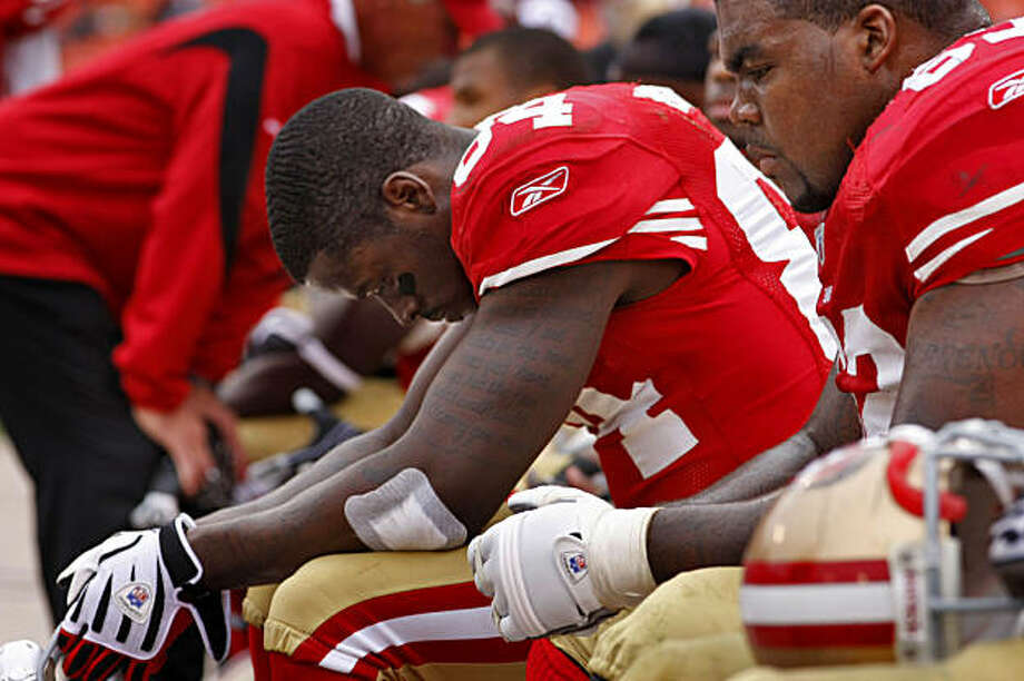 San Francisco 49ers' Josh Morgan reacts as the game ends Sunday at Candlestick. Photo: Lacy Atkins, The Chronicle