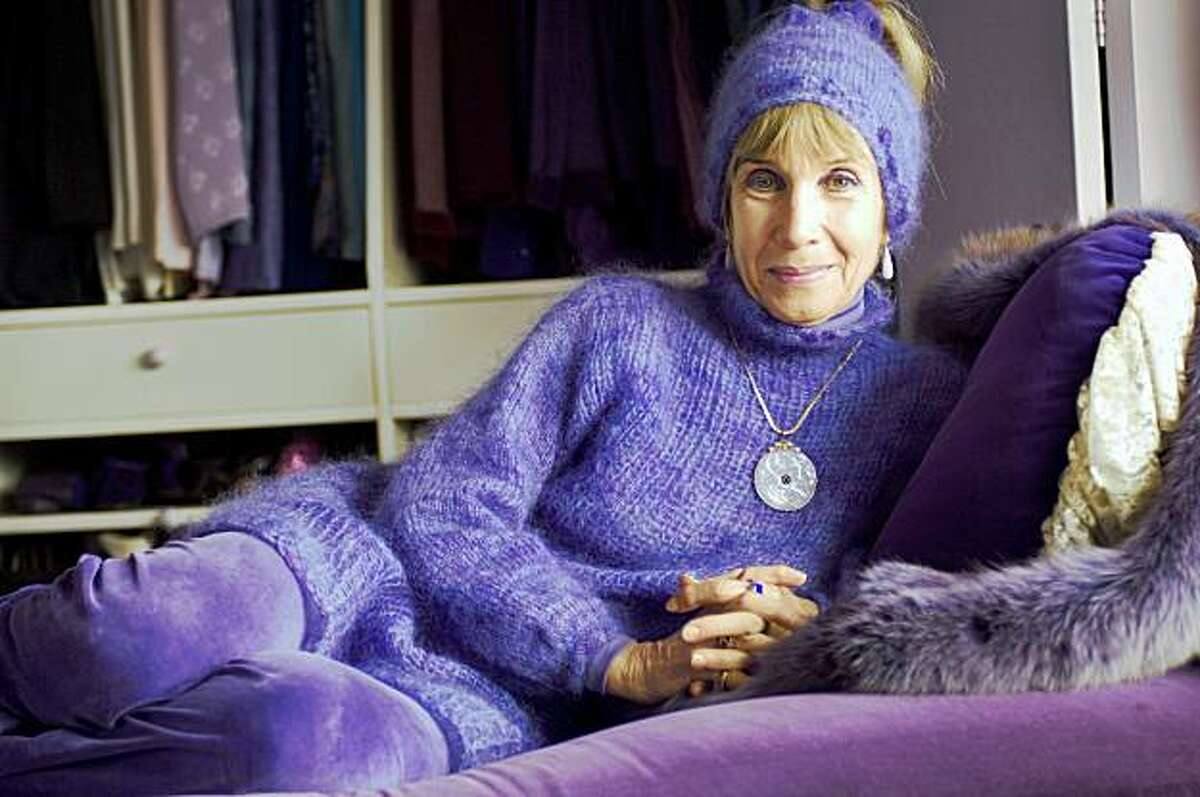 Barbara Meislin, The Purple Lady of Tiburon, Ca. in her home. Her house burned down today, Oct. 21, 2009.