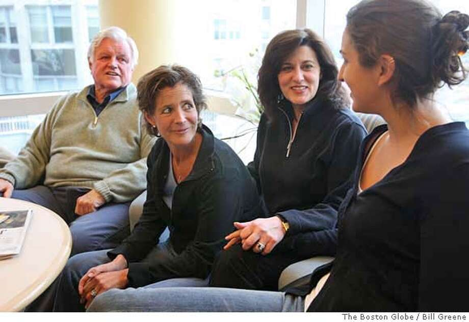 Boston, MA 5/20/08 l-r, Sen. Edward M. Kennedy (cq) daughter Kara Kennedy (cq) wife Vicki (cq) and daughter in law Caroline Raclin (cq) inside a solarium at Massachusetts General Hospital. He was diagnosed with a milignant brain tumor today. (Bill Greene/ Globe Staff) Photo: Greene, Bill Globe Staff