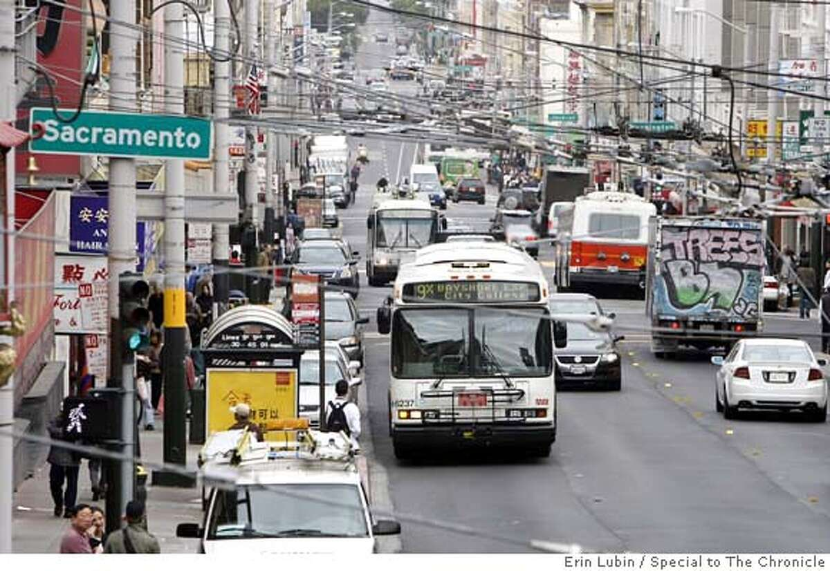 ###Live Caption:Muni buses make their way down Stockton Street through Chinatown Thursday morning, October 18, 2007. Event on 10/18/07 in San Francisco. Erin Lubin / Special to The Chronicle###Caption History:Muni_004_EAL.JPG Muni busses make their way down Stockton Street through Chinatown Thursday morning, October 18, 2007. Event on 10/18/07 in San Francisco. Erin Lubin / For the Chronicle###Notes:###Special Instructions:MANDATORY CREDIT FOR PHOTOG AND SF CHRONICLE/NO SALES-MAGS OUT