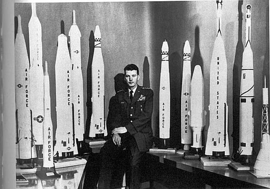 "bernie schriever with fopur stars amid his missiles, circa 1962. from the book ""a fiery peace in a cold war"" by neil sheehan Photo: History Office, USAF"