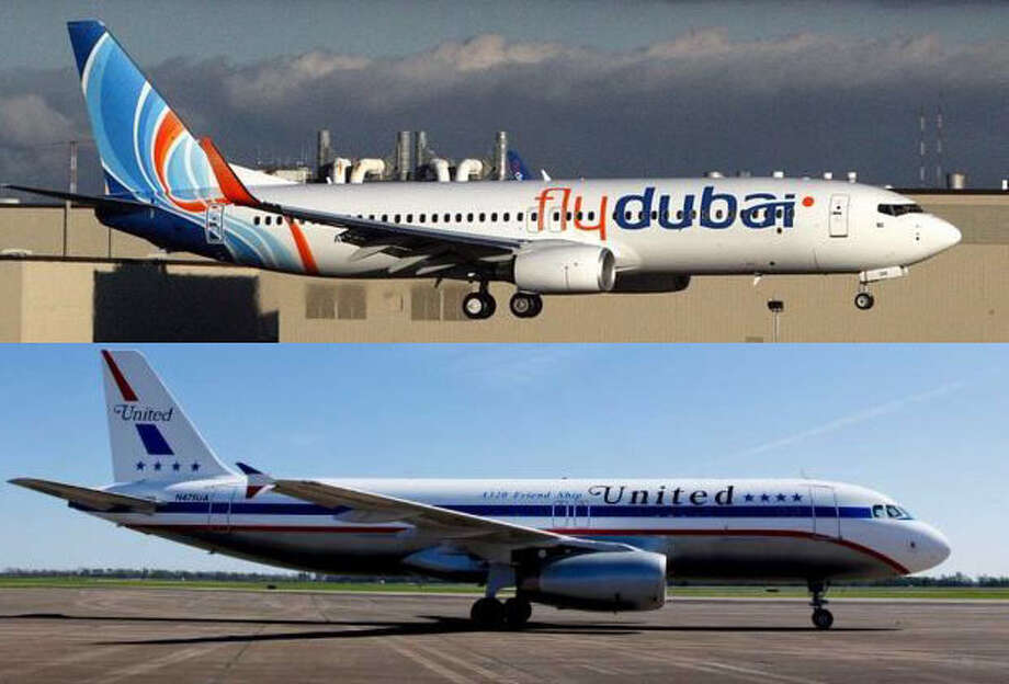 Here are a flydubai Boeing 737-800 (top) and United Airlines Airbus A320. These single-aisle airliners are by far the most common airplanes around. You might notice the 737 has 'winglets,' which curve up at  the tip of the wings, while the A320 has wingtip 'fences,' which rise above and below the  rest of the wing. Both of these devices save fuel. But don't lean too heavily on  this. Some airplanes have no wingtip devices. And Airbus is adding  'sharklets' that look a lot like winglets. The 737 has a pointier nose, as do Boeings in general. Photo: Top:Aubrey Cohen/seattlepi.com, Bottom: United Airlines