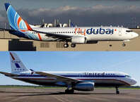 A flydubai Boeing 737-800 (top) and United Airlines Airbus A320.