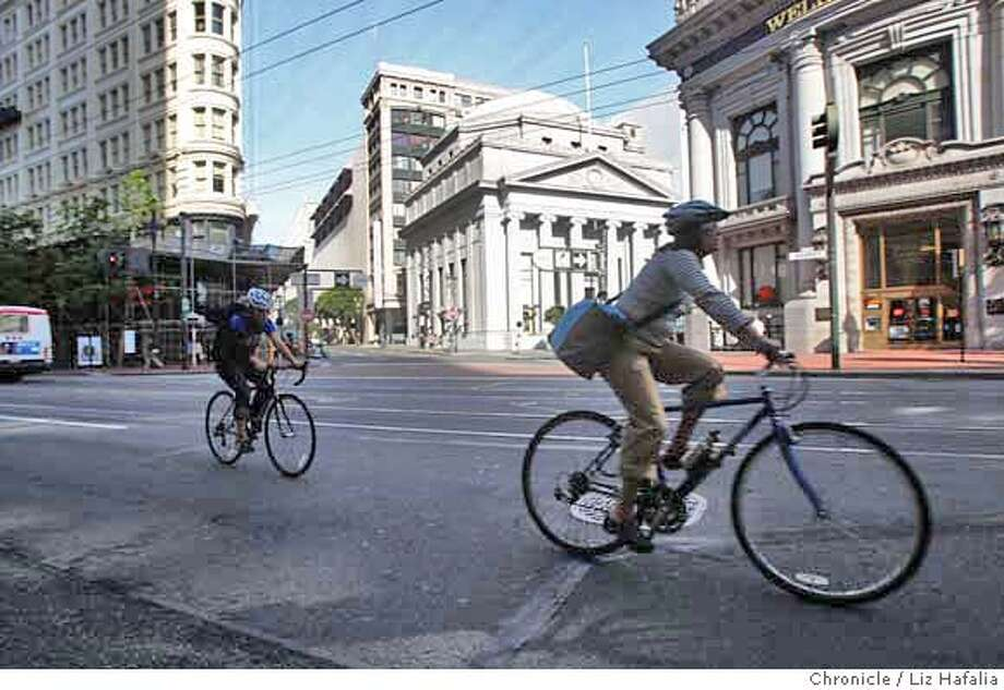 ###Live Caption:Cyclists biking along Market Street at Grant Ave. in San Francisco, Calif., on Monday, May 9, 2008. Photo by Liz Hafalia / San Francisco Chronicle###Caption History:Cyclists biking along Market Street at Grant Ave. in San Francisco, Calif., on Monday, May 9, 2008. Photo by Liz Hafalia / San Francisco Chronicle###Notes:Cyclists biking along Market Street at Grant Ave. in San Francisco, Calif., on Monday, May 9, 2008. Liz Hafalia / The Chronicle / {city } / 5/11/08  ** cq###Special Instructions:�2008, San Francisco Chronicle/ Liz Hafalia  MANDATORY CREDIT FOR PHOTOG AND SAN FRANCISCO CHRONICLE. NO SALES- MAGS OUT. Photo: Liz Hafalia