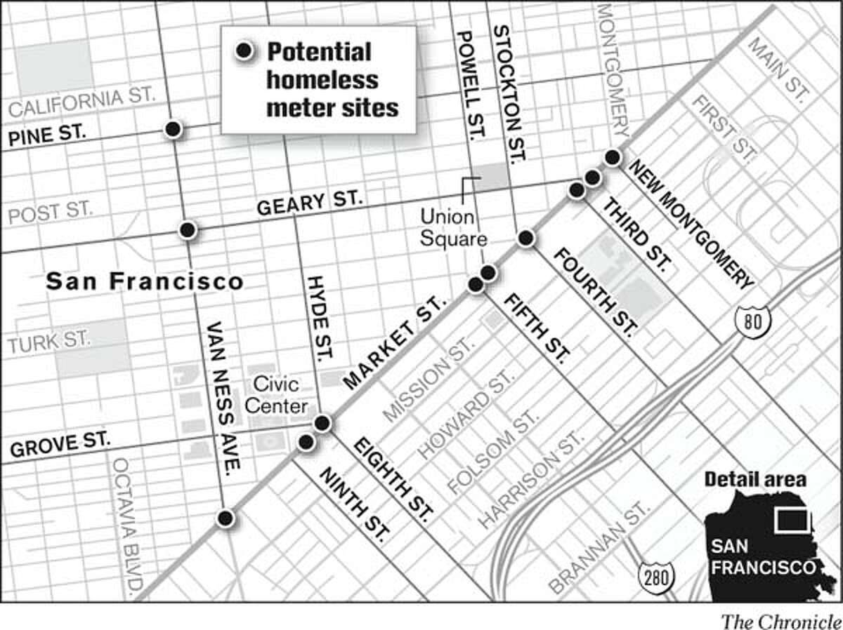 Potential homeless meter sites. Chronicle Graphic