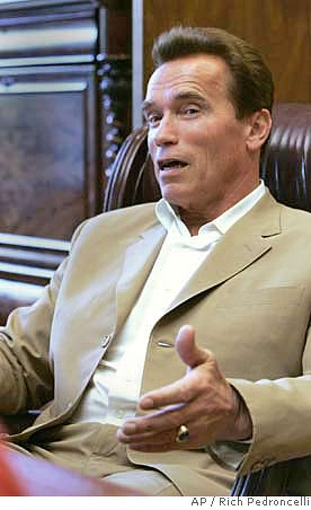 ###Live Caption:Gov. Arnold Schwarzenegger responds to a question during an interview with the Associated Press, in his Capitol office in Sacramento, Calif., Tuesday, April 29, 2008.(AP Photo/Rich Pedroncelli)###Caption History:Gov. Arnold Schwarzenegger responds to a question during an interview with the Associated Press, in his Capitol office in Sacramento, Calif., Tuesday, April 29, 2008.(AP Photo/Rich Pedroncelli)###Notes:###Special Instructions: