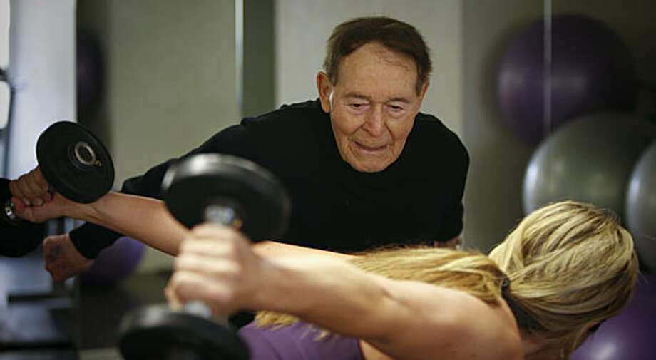 Fitness pioneer Jack Lalanne turned 95 years old in September.  He took reporter Carolyn Zinko through a mini-workout at the Parc 55 Hotel in San Francisco on Tuesday, Oct. 6, 2009. Photo: Russell Yip, The Chronicle