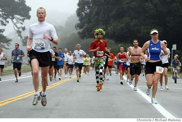 The more serious and a not so serious runners head through Golden Gate Park during the 97th annual ING Bay to Breakers 12k foot race in San Francisco, Calif., on May 18, 2008.  Photo by Michael Maloney / San Francisco Chronicle Photo: Michael Maloney