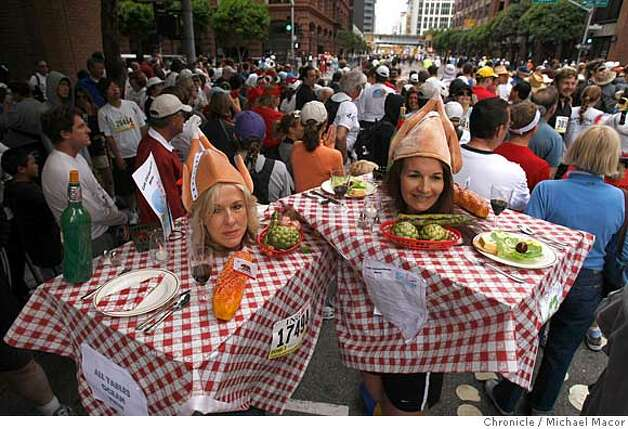 "Joyce Fisher,left and Susan Berberrich dressed as Italian restuarant tables they call , ""Cafe Cal-E-Fornia, waiting for the race to begin, during the 97th Bay to Breakers 12k foot race through the streets of San Francisco, Calif. on May 18, 2008.  Photo by Michael Macor/ San Francisco Chronicle Photo: Michael Macor"