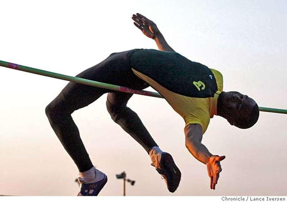 """###Live Caption:Maurice Valentine from Castro Valley High School attempts to clear seaven feet in the high jump at the James Logan 18th annual Top """"8"""" Track and Field Invitational. Photographed in Union City Calif, Saturday April 19, 2008. Photo By Lance Iversen / San Francisco Chronicle###Caption History:Maurice Valentine from Castro Valley High School attempts to clear seaven feet in the high jump at the James Logan 18th annual Top """"8"""" Track and Field Invitational. Photographed in Union City Calif, Saturday April 19, 2008. Photo By Lance Iversen / San Francisco Chronicle###Notes:Lance Iversen 415-2979395  CQ###Special Instructions:MANDATORY CREDIT PHOTOG AND SAN FRANCISCO CHRONICLE. Photo: LANCE IVERSEN"""