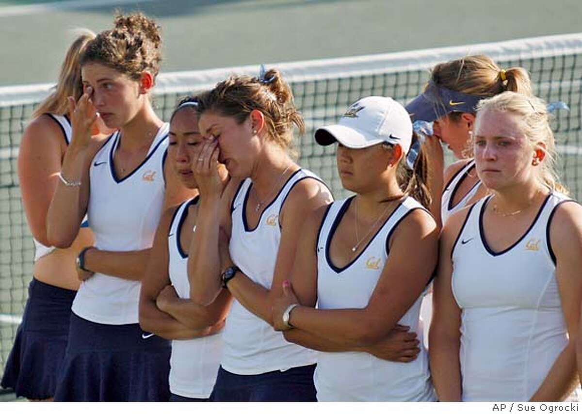 The California women's tennis team waits to receive their second place trophy after being defeated by UCLA in the NCAA team tennis championship finals in Tulsa, Okla., Tuesday, May 20, 2008. (AP Photo/Sue Ogrocki)