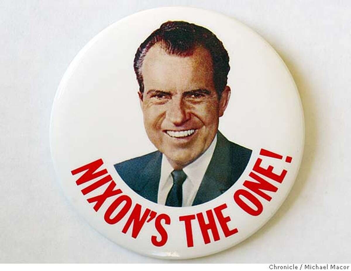 ###Live Caption:buttons_mac.018.JPG Richard Nixon 1968. From the collection of Martin Nolan, a Chronicle contributor, he shares hiis various campaign buttons from the mid 50's to present. event on 2/11/04 in San Francisco Copied by Michael Macor / The Chronicle###Caption History:buttons_mac.018.JPG Richard Nixon 1968. From the collection of Martin Nolan, a Chronicle contributor, he shares hiis various campaign buttons from the mid 50's to present. event on 2/11/04 in San Francisco Copied by Michael Macor / The Chronicle###Notes:###Special Instructions:Mandatory Credit For Photographer and SF Chronicle/ No Sales- Magazines Out