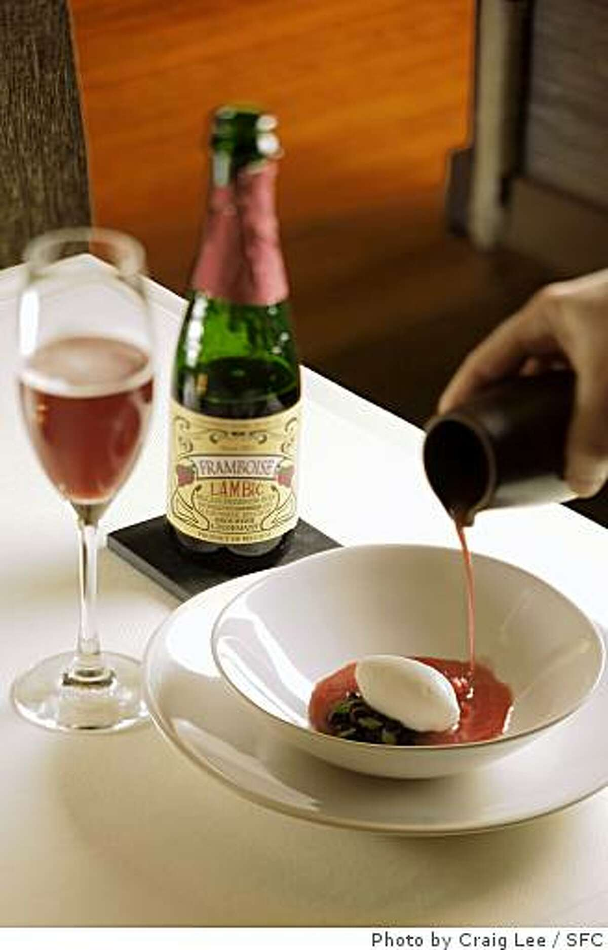 Lindemans Lambic Framboise paired with chilled strawberry-watermelon soup with makrut lime, black tapioca pearls and long pepper ice cream made by pastry chef Carlos Salgado at Coi restaurant in San Francisco on May 8, 2008.Photo by Craig Lee / The San Francisco Chronicle