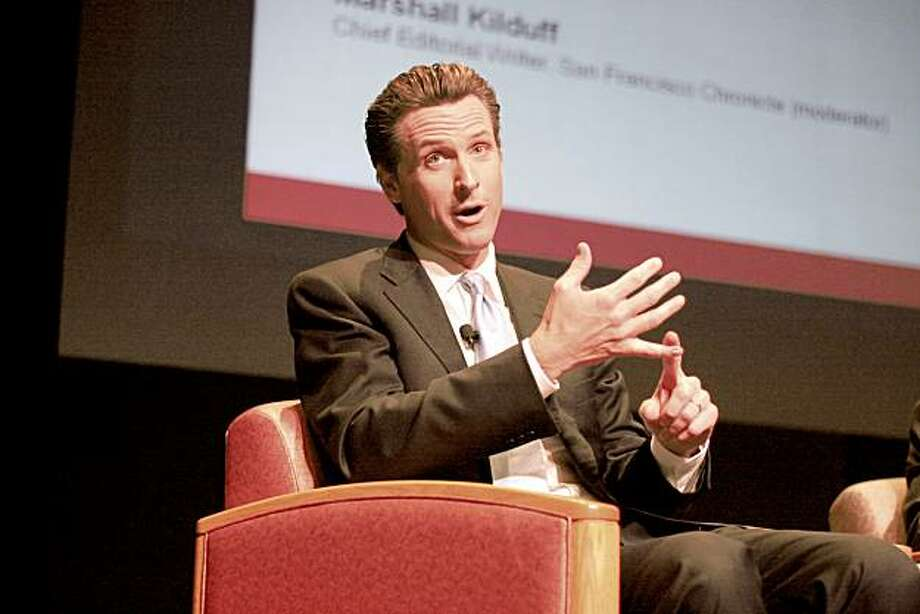 San Francisco Mayor Gavin Newsom fields questions from Chronicle editorial writer and event moderator Marshall Kilduff at a panel discussion at Santa Clara University, Projections 2010: Leadership California, Sept. 16. The event was hosted by the Silicon Valley Leadership Group. Photo: Emily Lam