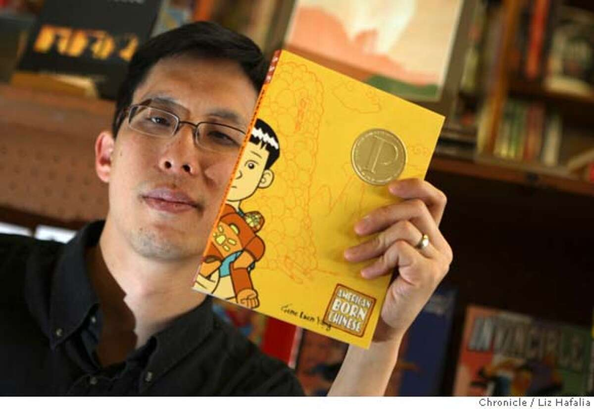 """Graphic novelist Gene Yang has a book """"American Born Chinese"""" which is the first graphic novel to be nominated for the National Book Award, won the prestigious Prinz Award, and sells in 12 countries. He is at one of his favorite hangouts, Comic Relief, in Berkeley, Calif., on Thursday, April 24, 2008. Photo by Liz Hafalia / San Francisco Chronicle"""