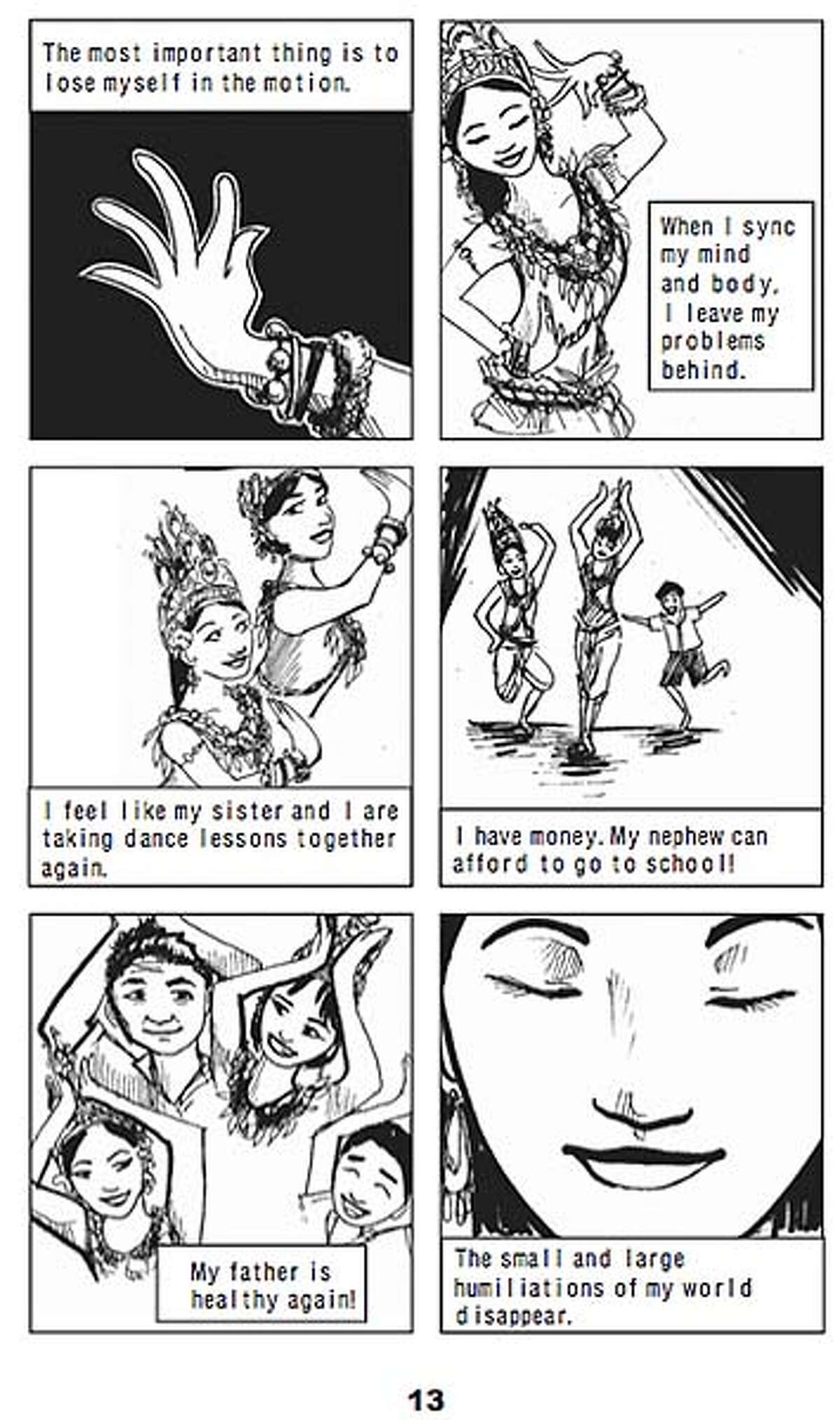 """Panel of Little Apsara dancing from the graphic novel """"Shake Girl."""" Created by collaborative artists at the Stanford Graphic Novel Project 2008. Credit: Stanford Graphic Novel Project"""