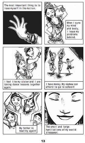 "Panel of Little Apsara dancing from the graphic novel ""Shake Girl."" Created by collaborative artists at the Stanford Graphic Novel Project 2008. Credit: Stanford Graphic Novel Project Photo: Credit: Stanford Graphic Novel P"