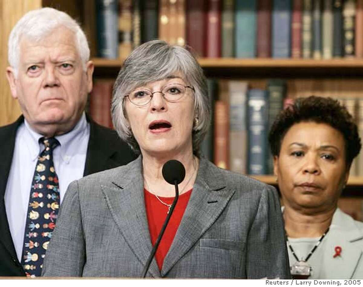 ###Live Caption:U.S. Representative Lynn Woolsey (D-CA), (C), and co-sponsors of H.Con.Res.35 hold a news conference to call for hearings in the House International Relations Committee to bring U.S. troops home from Iraq while on Capitol Hill, February 9, 2005. The resolution would express 'the sense of Congress that the president should develop and implement a plan to begin the immediate withdrawal of United States Armed Forces from Iraq.' From L-R are: Representative Jim McDermott (D-WA) and Representative Barbara Lee (D-CA). REUTERS/Larry Downing###Caption History:U.S. Representative Lynn Woolsey (D-CA), (C), and co-sponsors of H.Con.Res.35 hold a news conference to call for hearings in the House International Relations Committee to bring U.S. troops home from Iraq while on Capitol Hill, February 9, 2005. The resolution would express 'the sense of Congress that the president should develop and implement a plan to begin the immediate withdrawal of United States Armed Forces from Iraq.' From L-R are: Representative Jim McDermott (D-WA) and Representative Barbara Lee (D-CA). REUTERS/Larry Downing Ran on: 02-18-2005 Rep. Christopher Cox, R-Newport Beach, said members of the bipartisan group need to work together on substantive issues. Ran on: 02-18-2005 Rep. Christopher Cox, R-Newport Beach, said members of the bipartisan group need to work together on substantive issues. Ran on: 05-06-2005 Joe Nation Ran on: 06-27-2005 Ran on: 07-05-2005 Barbara Lee and Lynn Woolsey, from left, Bay Area representatives, are co-chairs of the Congressional Progressive Caucus. Ran on: 07-05-2005 Barbara Lee and Lynn Woolsey, from left, Bay Area representatives, are co-chairs of the Congressional Progressive Caucus. Ran on: 07-22-2005 Ran on: 07-22-2005 Ran on: 03-09-2006 Barbara LeeRan on:...
