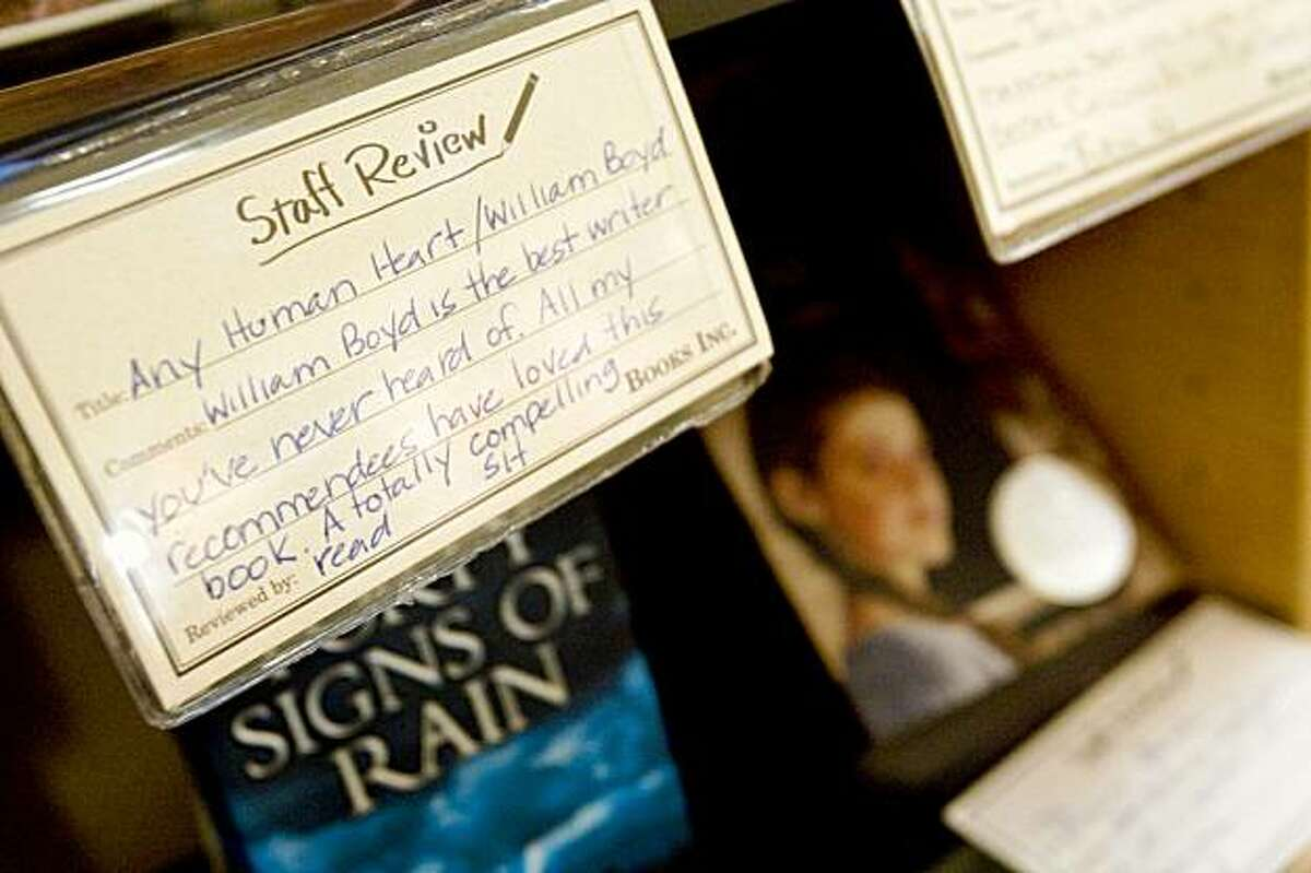 Staff reviews of favorite books can be found on the shelves of the new Berkeley outpost of Books Inc., a locally owned independent bookstore chain, in Berkeley, Calif., on Thursday, October 8, 2009.
