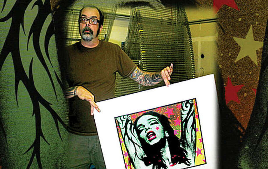 "Artist Frank Kozik with his ""Green Girl"" poster Photo: Www.freakfilms.com"