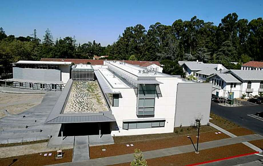 A view from the library roof of the new business building (left) and dormitories on the right. Mills College in Oakland has a new building on campus, the Lorry I Lokey Graduate School of Business. Photo: Brant Ward, The Chronicle