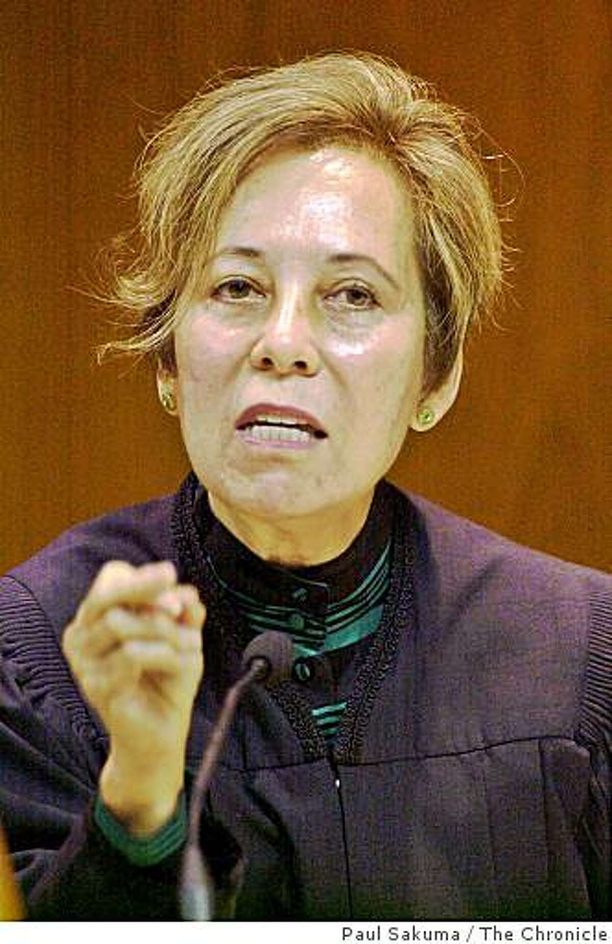 California Supreme Court Justice Joyce Kennard gestures in a courtroom in Fresno, Calif., Tuesday, Oct. 8, 2002.