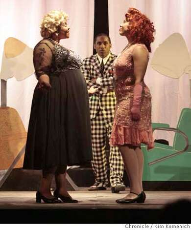 "###Live Caption:""Holt Fay"", center, played by Cameron Stuckey, is caught in the middle of an argument between ""Queenie Pie"", left, played by Amanda King, and ""CafŽ Olay"" right, played by Kathleen Antonia during a dress rehearsal of the Oakland Opera's performance of Duke Ellington's ""Queenie Pie"" in Oakland, Calif. on Friday, May 9, 2008. Photo by Kim Komenich / San Francisco Chronicle###Caption History:""Holt Fay"", center, played by Cameron Stuckey, is caught in the middle of an argument between ""Queenie Pie"", left, played by Amanda King, and ""Caf� Olay"" right, played by Kathleen Antonia during a dress rehearsal of the Oakland Opera's performance of Duke Ellington's ""Queenie Pie"" in Oakland, Calif. on Friday, May 9, 2008. Photo: Kim Komenich"