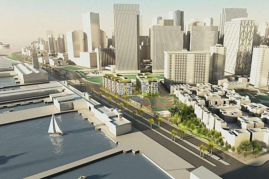 A model of what the mixed use development at 8 Washington Street would look like viewed from the north. The complex is planned to include a public park, 170 condos in two buildings, groundfloor shops and restaurants, an underground parking garage and a reconfigured Golden Gateway Tennis and Swim Club. Photo: Skidmore, Owings & Merrill LLP