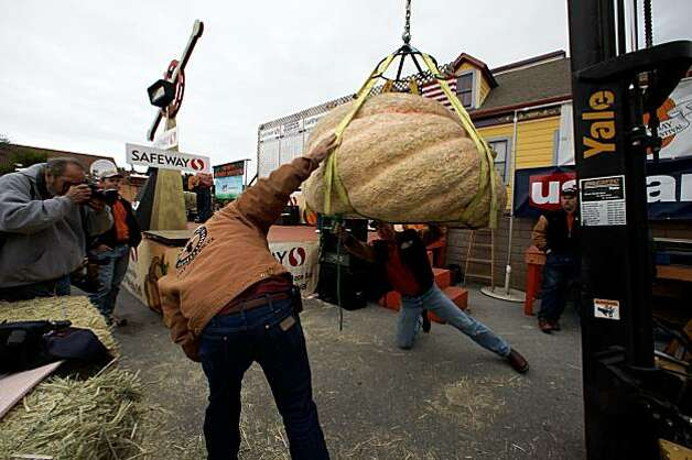 Preparing to weigh a pumpkin at the 36th Annual Safeway World Championship Pumpkin Weigh-Off in Half Moon Bay on Monday. Photo: Liz Hafalia, The Chronicle