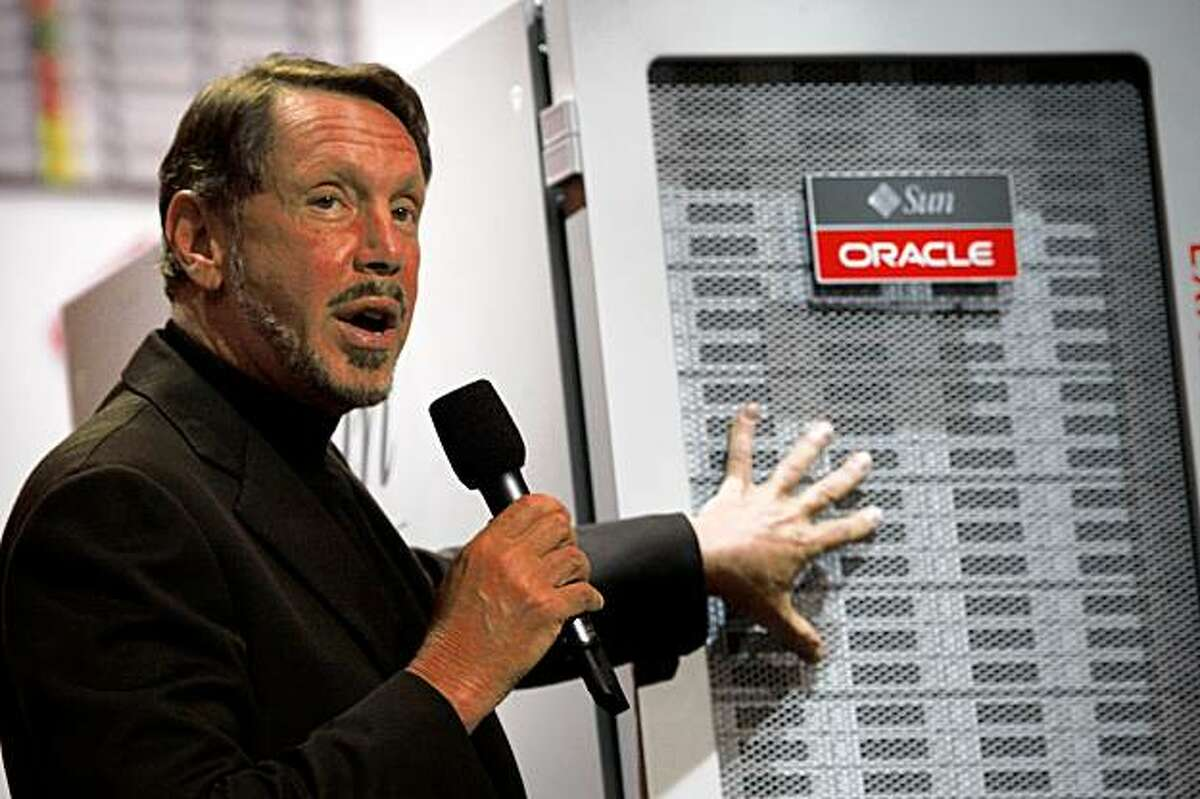 Oracle CEO Larry Ellison introduces the latest version of exadata at Oracle OpenWorld, in San Francisco Calif., on Wednesday, October 134, 2009.