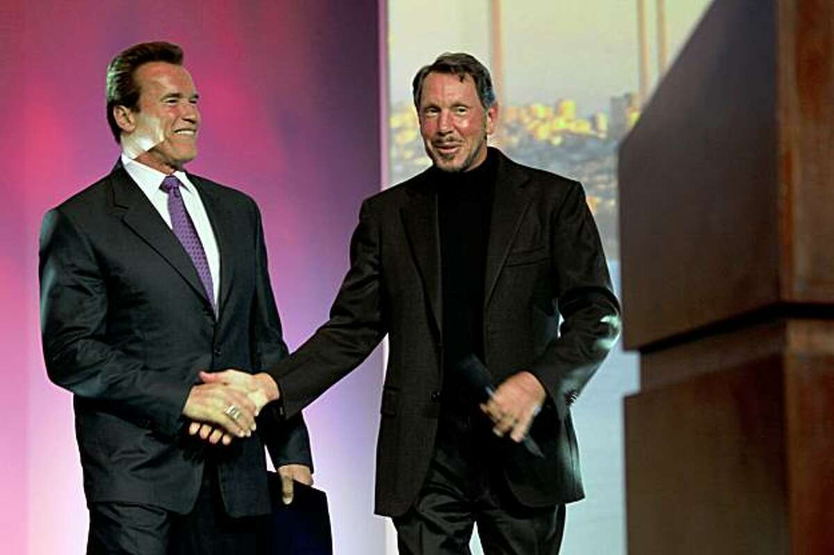 Governor Arnold Schwarzenegger with Oracle CEO Larry Ellison at Oracle OpenWorld, in San Francisco Calif., on Wednesday, October 134, 2009.