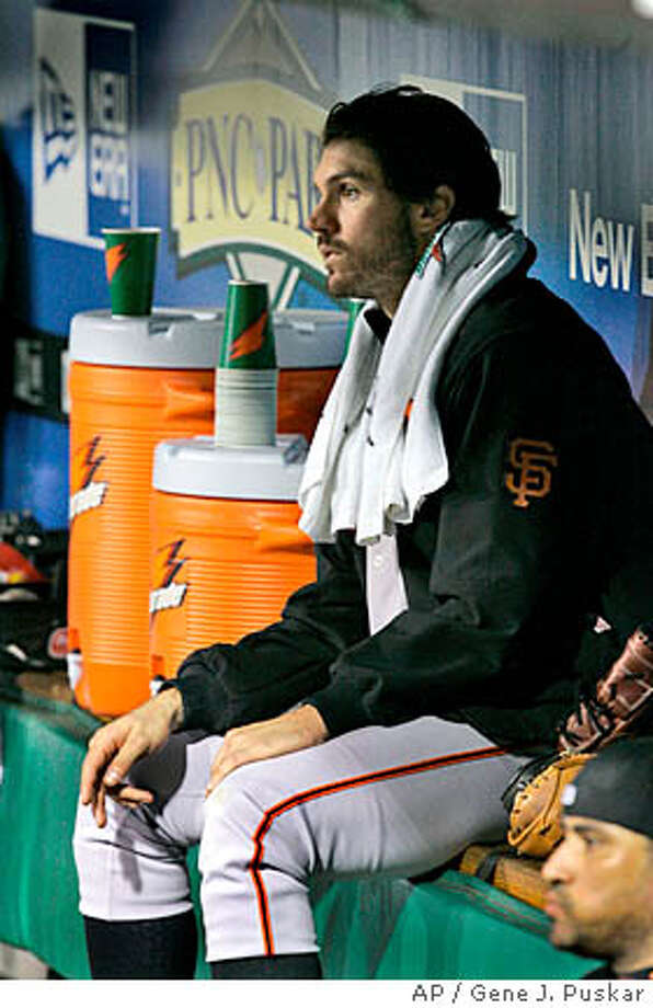 San Francisco Giants pitcher Barry Zito sits in the dugout after being pulled after five innings of work against the Pittsburgh Pirates in a baseball game in Pittsburgh, Wednesday, May 7, 2008. The Pirates won 3-1; Zito took the loss. (AP Photo/Gene J. Puskar) Photo: Gene J. Puskar