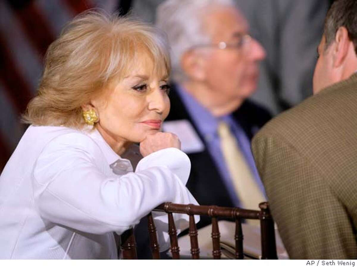 Barbara Walters speaks with a neighbor during a luncheon in New York, Thursday, April 17, 2008, featuring California Gov. Arnold Schwarzenegger and New York Mayor Michael Bloomberg. Bloomberg hosts annual luncheon to discuss his political agenda. (AP Photo/Seth Wenig) Ran on: 05-04-2008