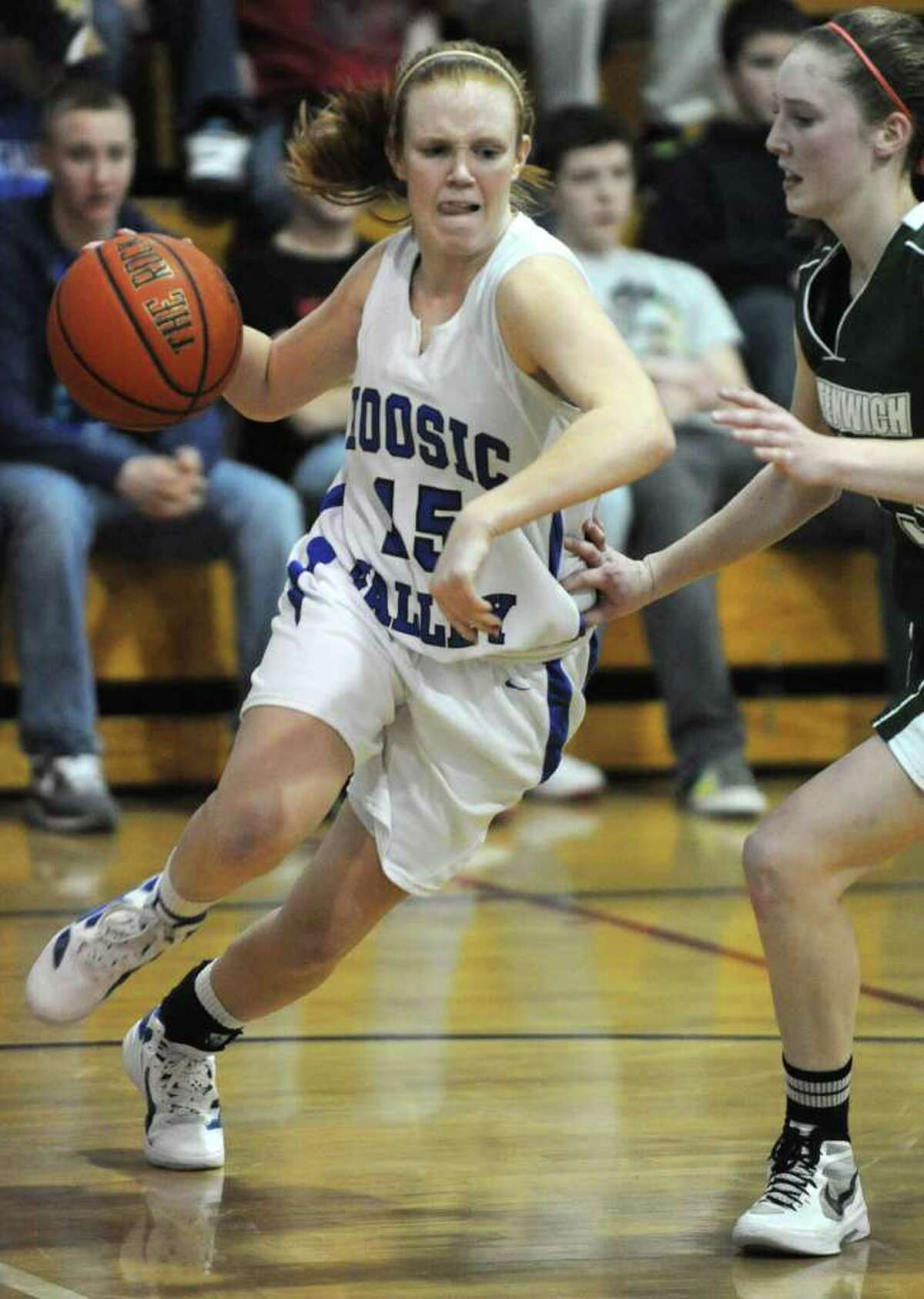 Hoosic Valley guard Whitney Kugler dribbles the ball during a basketball game against Greenwich on Wednesday, Feb. 8, 2012 in Schaghticoke, N.Y. (Lori Van Buren / Times Union)