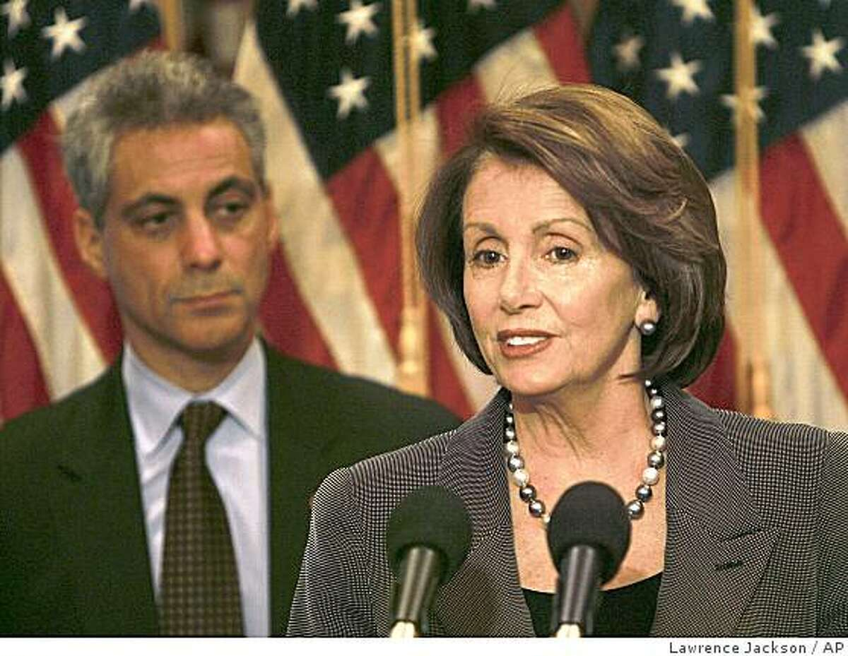 House Democrat Caucus Chairman Rep. Rahm Emanuel, D-Ill., , left, looks on as House Speaker Nancy Pelosi of Calif., speaks during a news conference on Capitol Hill in Washington, Wednesday, May 14, 2008.