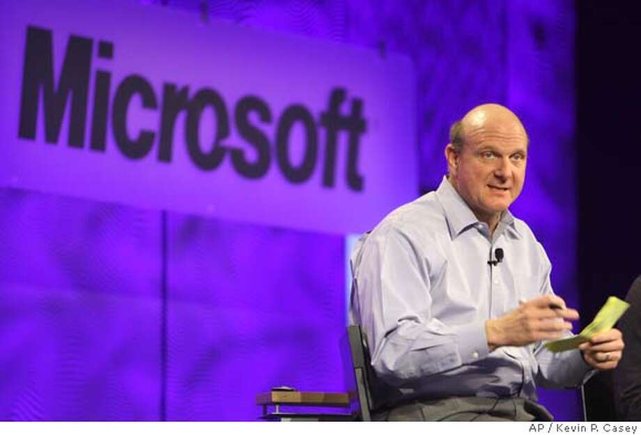 **FILE** Microsoft's CEO Steve Ballmer answers a question from the audience at the Microsoft 2008 MVP Global Summit MVP event from Canada in Seattle in this April 17, 2008, file photo. Ballmer offered a glimmer of hope on Thursday, April 24, 2008, to fans of the company's Windows XP operating system, saying the company may reconsider its decision to stop selling it soon. (AP Photo/Kevin P. Casey, File) Photo: Kevin P. Casey