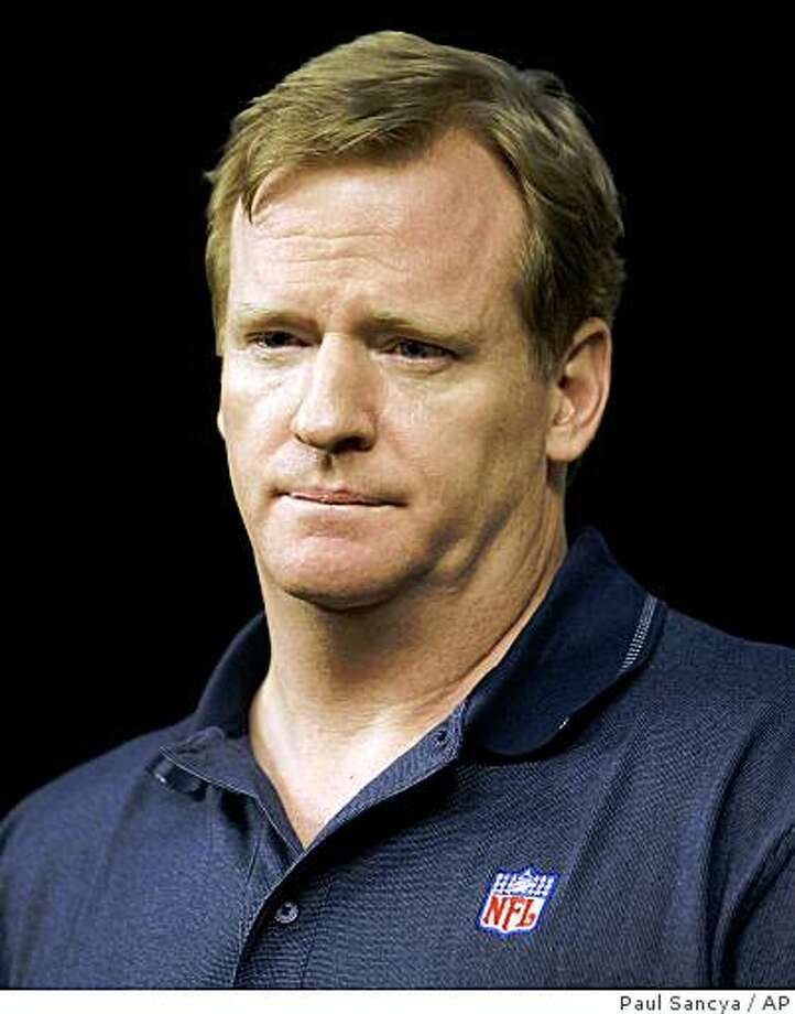 ** FILE ** In this Aug. 16, 2007 file photo, NFL commissioner Roger Goodell addresses the media after meeting with the Detroit Lions organization at their football training facility in Allen Park, Mich. Goodell is fully prepared to crack down again on the New England Patriots if his meeting with Matt Walsh uncovers a tape made of the St. Louis Rams' final walkthrough practice before the 2002 Super Bowl. (AP Photo/Paul Sancya, File) Photo: Paul Sancya, AP