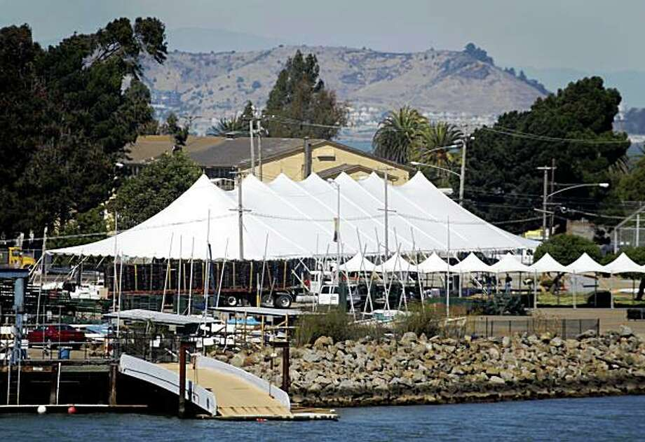 A large tent is erected on Treasure Island for the Oracle OpenWorld party in San Francisco, Calif., on Tuesday, Sept. 29, 2009. Photo: Paul Chinn, The Chronicle