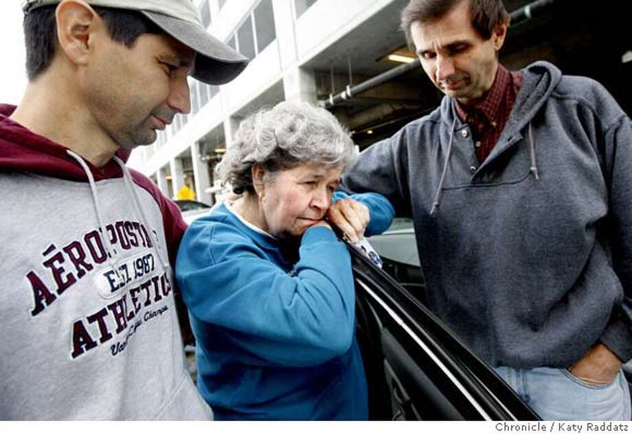 ###Live Caption:Rich Lamascus, left, and Jim Lamascus, right, comfort their mother, Barbara Lamascus, center, outside the San Bruno Police Station, where they have come to follow up a police report about Bobby Joe Lamascus, Barbara's son who is mentally disabled and has been missing since last Thursday on a trip to San Francisco. Barbara has spend the last three days searching San Francisco's alleys and homeless camps for her missing son, and the family fears for his safety. San Bruno, Calif. on Sunday May 11, 2008.  Katy Raddatz / The San Francisco Chronicle###Caption History:Rich Lamascus, left, and Jim Lamascus, right, comfort their mother, Barbara Lamascus, center, outside the San Bruno Police Station, where they have come to follow up a police report about Bobby Joe Lamascus, Barbara's son who is mentally disabled and has been missing since last Thursday on a trip to San Francisco. Barbara has spend the last three days searching San Francisco's alleys and homeless camps for her missing son, and the family fears for his safety. San Bruno, Calif. on Sunday May 11, 2008.  Katy Raddatz / The San Francisco Chronicle###Notes:Lamascus###Special Instructions:MANDATORY CREDIT FOR PHOTOG AND SAN FRANCISCO CHRONICLE/NO SALES-MAGS OUT Photo: KATY RADDATZ