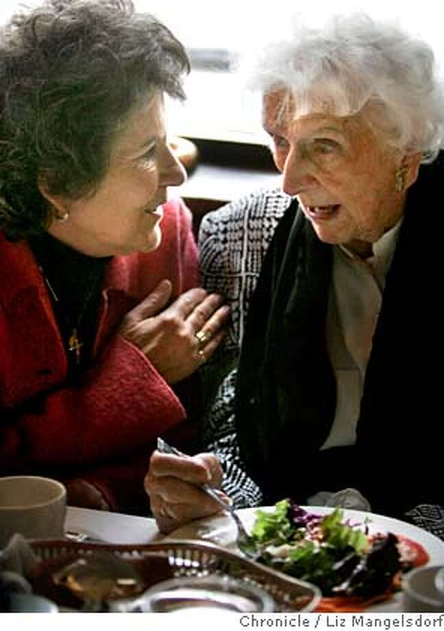###Live Caption:quakesurvivors045_lm.JPG Event on 4/4/06 in San Francisco.  During her lunch 108-year-old Chrissie Martinstein, right, talks with her caregiver Bridget Ridley. Six 1906 quake survivors gathered at John's Grill in SF to talk about their memories (mainly with the media that swamped them).  Liz Mangelsdorf /###Caption History:quakesurvivors045_lm.JPG Event on 4/4/06 in San Francisco.  During her lunch 108-year-old Chrissie Martinstein, right, talks with her caregiver Bridget Ridley. Six 1906 quake survivors gathered at John's Grill in SF to talk about their memories (mainly with the media that swamped them).  Liz Mangelsdorf /###Notes:###Special Instructions:MANDATORY CREDIT FOR PHOTOG AND SF CHRONICLE/NO SALES-MAGS OUT Photo: Liz Mangelsdorf